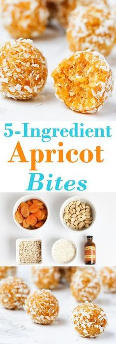 Healthy Snacks 15 minutes and 5 ingredients is all you need for these nutritious bites! - 5 Ingredients and 15 minutes is all you need to make these delicious energy balls! Raw Food Recipes, Sweet Recipes, Cooking Recipes, Vegetarian Recipes, Apricot Recipes, Food Tips, Vegan Desserts, Cooking Games, Gf Recipes