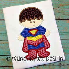 Super Boy Hero Applique by MunchkymsDesign on Etsy, $4.00