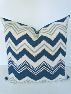 CHEVRON THROW PILLOWS 18x18 Throw Pillow Covers 18 x 18 Blue Decorative Throw pillows missoni. $17.95, via Etsy.