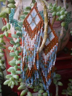 the  desert winter  beaded native style earrings by thre3moons, $80.00