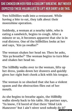Woman Chokes On Food And Could Not Breathe But Never Expected These Hillbillies To Lift Her Skirt And Do This funny jokes story lol funny quote funny quotes funny sayings joke hilarious humor stories funny jokes best jokes ever best jokes