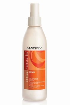 This featherweight spritzer protects against damaging flat-iron heat and helps to maintain your straight style for longer-lasting results. The formula's ceramides and shea butter also help to shield against humidity and grant hair a glossy finish with no greasy side effects. Matrix Total Results Sleek Iron Smoother, $15; matrix.com   - ELLE.com