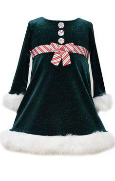 Bonnie Jean Baby Girls Green Velour Peppermint Stripe Christmas Dress