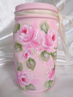 ROMANTIC PINK ROSES BALL JAR hp chic shabby vintage cottage hand painted garden…