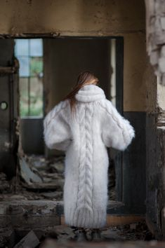 White Sweater Dress, White Sweaters, Wool Sweaters, Sweaters For Women, Fluffy Sweater, Angora Sweater, Cowl Neck Dress, Knit Dress, Gros Pull Long