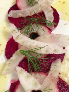 Beet Radish Fennel Trio Simply Elevated with Vanilla Sea Salt!  Delicate, Pretty, Elegant...Yet Complex!  Looking for a light salad or appetizer prior to a meal?  This salad is bright, light and full of flavor.  The combo is amazing...a touch of sweetness from the beet, a slight bite from the radish and the licorice infusion from the fennel!  The aged balsamic glaze adds to the sweetness of the beets and the vanilla sea salt brings all flavors together and heightens the trio!
