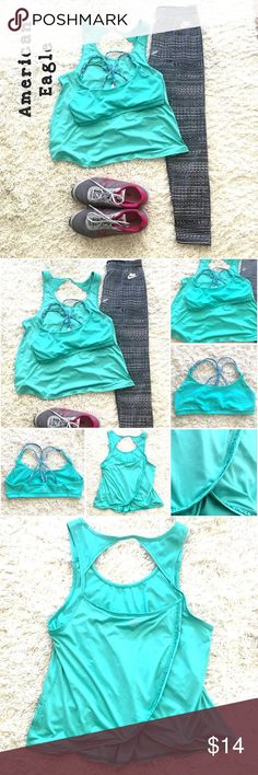 AE American Eagle workout open back tank, Large Adorbs AE workout tank, dry-wick material, ruffle deets along open flowing back and shoulders in front. Tag was cut out of tank, but is a large. Includes matching sports bra with criss-cross patterned back detail. We're purchased together so a perfect match - both pieces size Large; made to be oversized, would also fit a medium. Happy Poshing! American Eagle Outfitters Tops Tank Tops