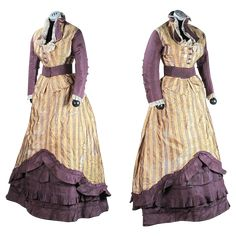 1870's Four Piece Striped Silk Bustle Gown