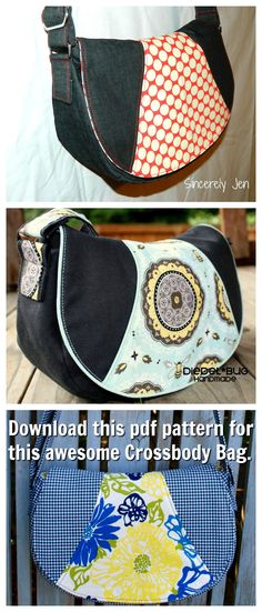 This downloadable pdf sewing pattern makes this comfortable crossbody bag with an effortless, casual style. It features a long adjustable strap, two zippered pockets and a roomy main compartment.