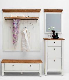 Garderoben-set Akazie Weiss Lackiert Woody 41-02246 Landhaus