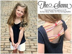 Tutorial and free pattern in 4t for this cute and comfy bow top for little girls
