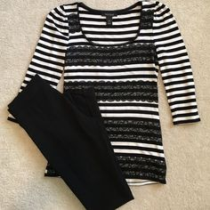 White House Black Market Top 3/4 Sleeve Horizontal Striped Black lace & cream top.  Looks great with leggings and riding boots. White House Black Market Tops