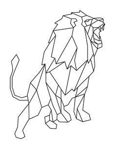 Printable Roaring Geometric Lion Coloring Page Geometric Tattoo Nature, Geometric Drawing, Geometric Art, Lion Coloring Pages, Geometric Coloring Pages, Lion Sketch, Graphic Design Books, Polygon Art, Lion Design