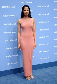 Padma Lakshmi Form-Fitting Dress - Padma Lakshmi turned heads in a curve-hugging pink tank dress during the NBCUniversal Upfront. Most Beautiful Women, Beautiful Outfits, Beautiful Clothes, Padma Lakshmi, Great Gifts For Women, Woman Smile, Exotic Beauties, Some Girls, Girl Model