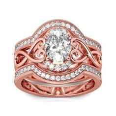 Jeulia 3PC Rose Gold Tone Oval Cut Created White Sapphire Wedding Set - Jeulia Jewelry