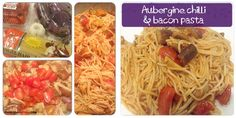 Aubergine Chilli Bacon Pasta | The Recipe Auditors | Follow @The Recipe Auditors Bacon Pasta, Spaghetti, Meat, Chicken, Ethnic Recipes, Food, Meals, Noodle, Cubs