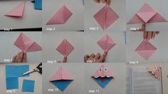 monster boekenlegger: stap1: vouw het blaadje in een driehoek stap 2: vouw de buitenste punt naar binnen stap 3: doe dat ook met de andere punt stap 4: vouw de punten open en vouw 1 van de boven kant naar beneden stap 5 + 6: vouw de buitenste punten weer naar boven stap 7: vouw de punt naar binnen stap 8: doe dit ook met de andere punt stap 9: kies een andere kleur en knip daar 1/4 van uit in een vierkant stap 10: plak dit vierkant in elkaar  stap 11: maak er evt. ogen, mond en tong bij