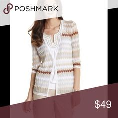 """🆕 WHBM 3/4 Sleeve Cover Up Cardigan Featherlight cardigan knit with a metallic palette of zigzagging stripes. 58% Rayon, 28% Polyester, 14% Metallic. Hand wash, inside out. Imported. Straight fit. V-neck. Two hook-and-eyes close the flyaway front. 3/4-length sleeves. Length: 25.75"""". Brand new with tag. White House Black Market Sweaters Cardigans"""