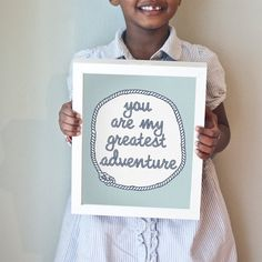You are my greatest adventure art print.  Light blue and navy nursery art with nautical appeal.  Printable, too!