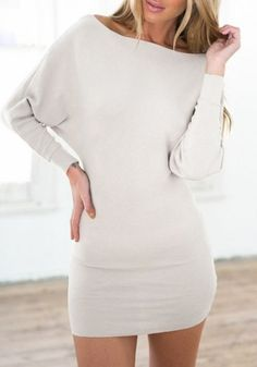 White Plain Boat Neck Fashion Cotton Mini Dress