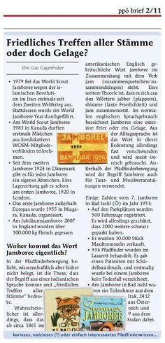 Nutzloses Pfadiwissen im PPÖ-Brief, Jamboree-Ausgabe, Herbst 2011 Bullet Journal