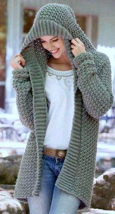 Crochet Hoodie, Crochet Cardigan Pattern, Crochet Patterns, Crochet Sweaters, Crochet Jumpers, Baby Sweaters, Crochet Clothes, Sweater Coats, Hooded Sweater