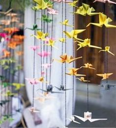 DIY paper hangings Make colourful origami birds and string them in line on colourful thread  Brighten your window, balcony, kids room or just gift your near and dear ones
