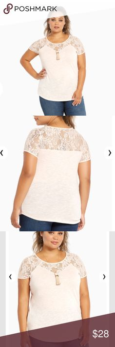LOWEST NWT Torrid Peach Lace Inset Top NWT Torrid peach lace inset top. Size 1. Retails for 34.90. torrid Tops