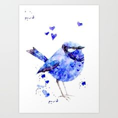 bird, little blue bird, watercolor, akvarell, illustration, draw