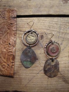 Universal - rustic mismatched earrings - hammered metal - reclaimed vintage - antique buttons - recycled jewelry
