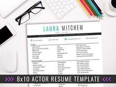 actor resume template 8 x 10 acting resume instant digital download ms word actor marketing laura teal2