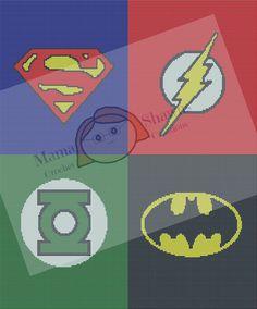 DC Heros Inpsired- Written Pattern, Graphghan, Batman, Superman, Green Lantern, The Flash, Crochet Bedding by MamaShawns on Etsy