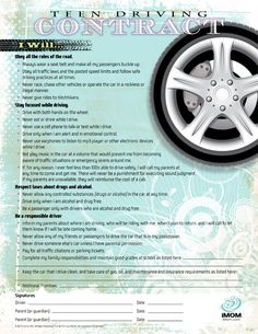 Before your children get behind the wheel, have them sign iMOM's Teenage Driving Contract. A teen driving contract can make your kids safer on the road. Parenting Teenagers, Parenting Teens, Parenting Hacks, Teen Cell Phone Contract, Driving Practice, Driving Teen, Teen Driver, Teenage Years, Teenage Chores