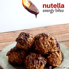 Nutella Energy Bites - a quick and easy kids' kitchen recipe for no-bake cookie bites. Perfect for a lunch box idea, or on-the-go snack