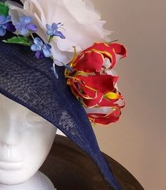Cold Porcelain Blue Glory Bower and Flame Lily for a home made hat.