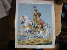 Berlin Woolwork Tapestry Pattern HandPainted Military Figure on Horse Circa 19th (02/18/2013)