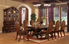 Dining Room Purple Curtain Glass Window Chandelier Cherry Dining Set Crystal Glass White Ceramic Teaset Curio Cabinet Flower Vase Red Pattern Carpet Wooden Floor Candle Holder Must-Have Dining Room Equipment