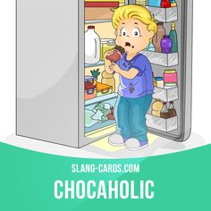 """""""Chocaholic"""" means a person who loves chocolate.  Example: My son is a chocaholic. He'll eat anything with chocolate on it.  #slang #englishslang #saying #sayings #phrase #phrases #expression #expressions #english #englishlanguage #learnenglish #studyenglish #language #vocabulary #dictionary #efl #esl #tesl #tefl #toefl #ielts #toeic #englishlearning #vocab #chocaholic #chocolate #sweettooth"""