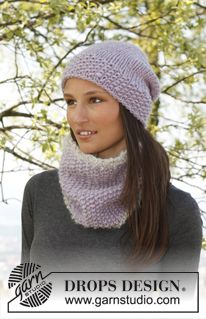 """Lilac Pearl - Set consists of: Knitted DROPS neck warmer in """"Eskimo"""" and """"Puddel"""" and hat in """"Eskimo"""". - Free pattern by DROPS Design Knitting Stitches, Knitting Patterns Free, Knit Patterns, Free Knitting, Free Pattern, Crochet Woman, Knit Crochet, Crochet Hats, Drops Design"""