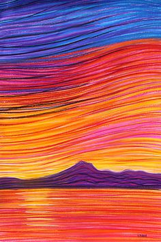 Pastels- Sunrise by the talented Georgie Sharp of Port Augusta Funny Paintings, Yarn Painting, Teen Art, Art Projects For Teens, Plasticine, Wool Art, Guache, Landscape Quilts, Collaborative Art
