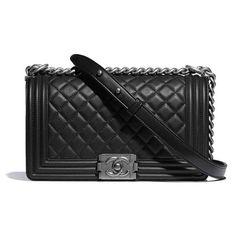 Chanel Boy Chanel Handbag in Calfskin & Ruthenium-Finish Metal-Black - LULUX Chanel Handbags 2017, Chanel Bags, Designer Handbags, Designer Bags, Luxury Handbags, Chanel Boy Bag Medium, Chain Shoulder Bag, Shoulder Strap, Satchel Handbags