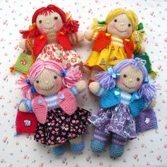 Rainbow Rascals  doll knitting pattern  INSTANT di dollytime