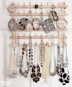 An affordable thread rack makes a smart jewelry organizer. You can spray paint, too.