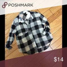 Buffalo plaid button front Lightweight cotton gauze plaid blouse has has a unique pocket at side Tops Button Down Shirts