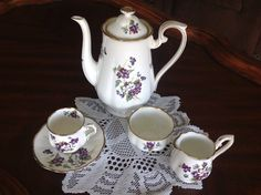 Royal Albert Violets for Love 6 pcs set cup saucer coffee pot sugar creamer Mint in Pottery & Glass, Pottery & China, China & Dinnerware, Royal Albert | eBay
