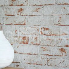 White brick effect wallpaper, wallpaper brick, realistic brick effect