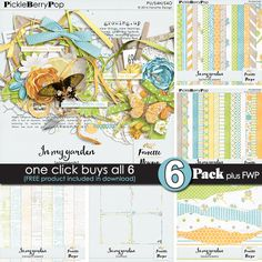 In my garden ~ 6-pack plus FWP by Fanette Design