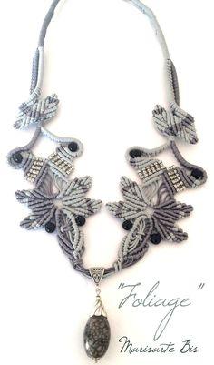 agata macramè marisarte bis grigio argento tibetano foglie