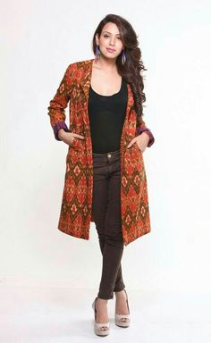 Buy online Jackets Dresses - Cotton ikat jacket (orange & brown) from Frinky Town Kurta Designs, Blouse Designs, Dress Designs, Indian Jackets, Shrug For Dresses, Trendy Dresses, Batik Fashion, Jackets For Women, Clothes For Women