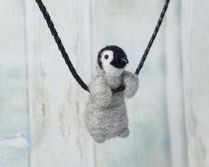 Tiny Baby Penguin necklace  Emperor penguin baby  by LilenokArt
